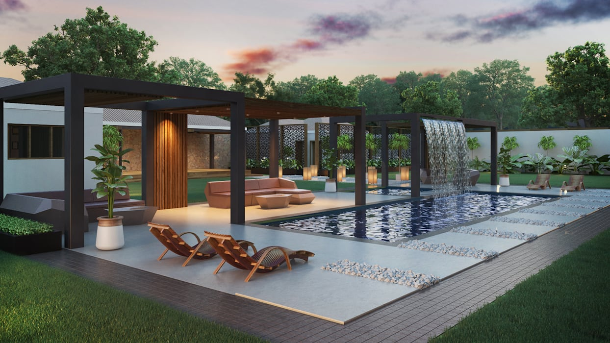 Various Outside Entertainment Areas:  Pool by Dessiner Interior Architectural