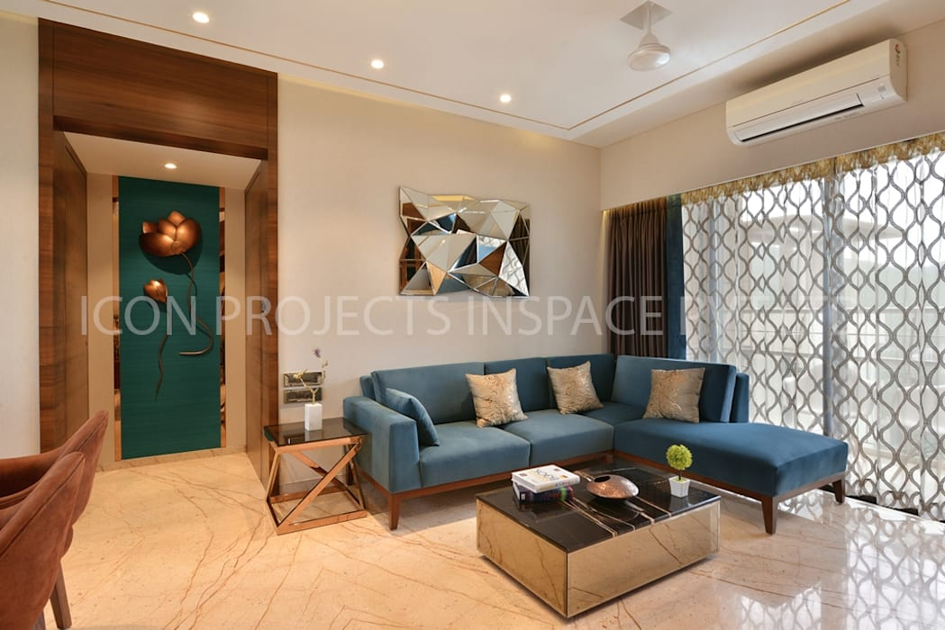 2Bhk Residence -1:  Living room by icon projects inspace pvt ltd