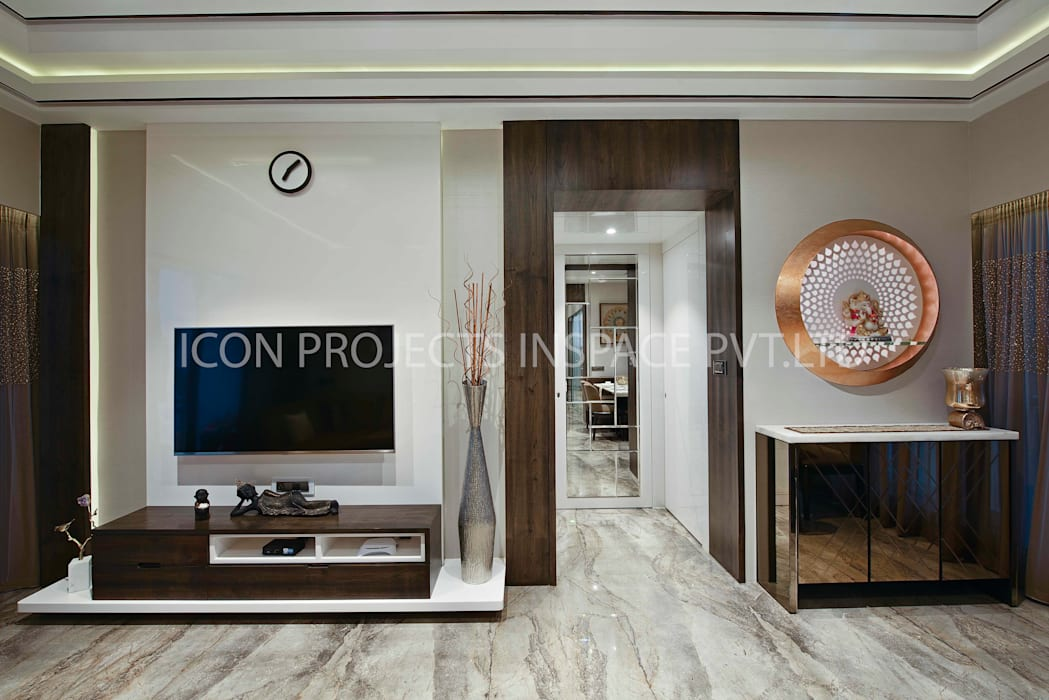 2BHK Residence:  Living room by icon projects inspace pvt ltd