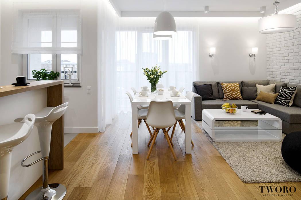 Żoliborz Artystyczny Biały: styl , w kategorii Salon zaprojektowany przez Klaudia Tworo Projektowanie Wnętrz Sp. z o.o.,