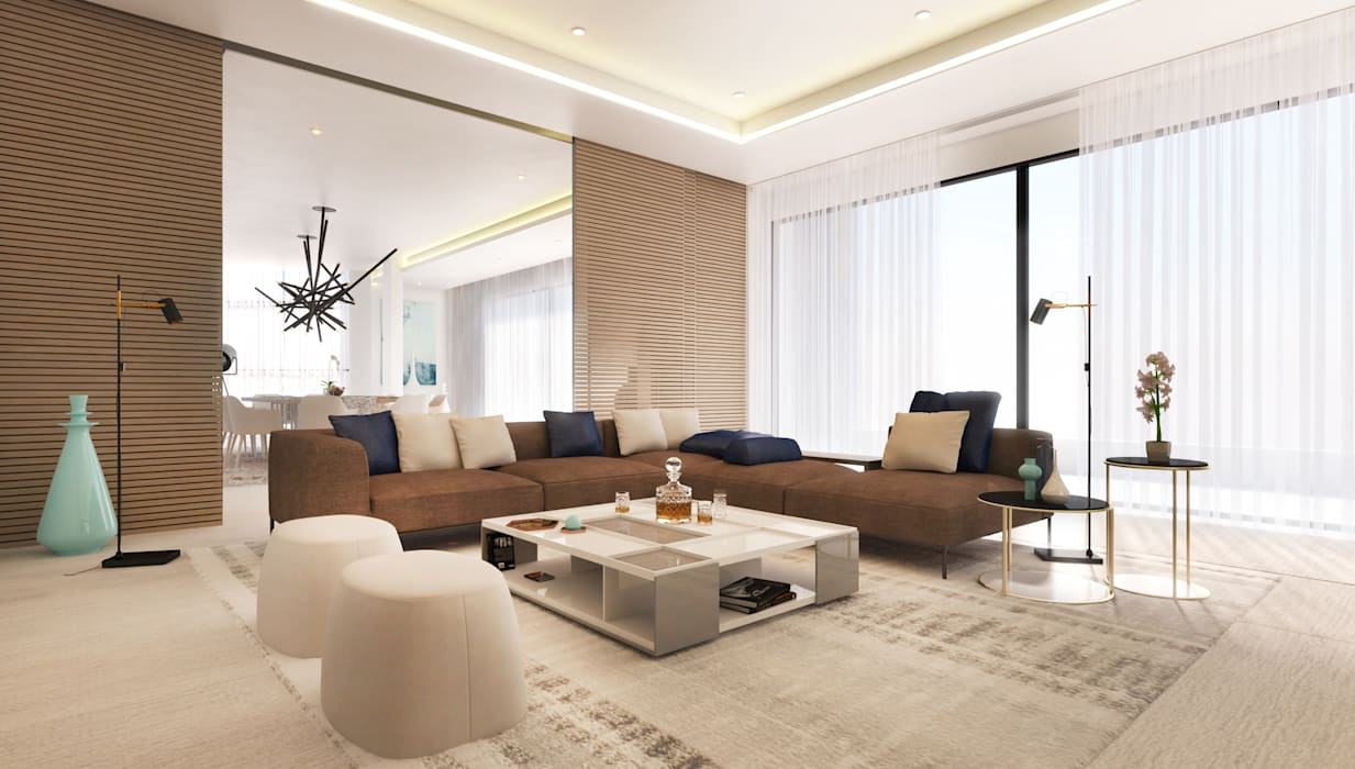 Main Lounge:  Living room by Dessiner Interior Architectural