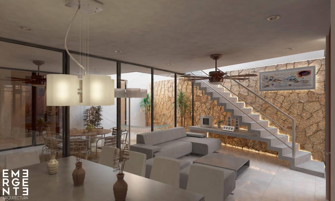 SALA VISTA 1: Salas de estilo  por EMERGENTE | Arquitectura, Ecléctico
