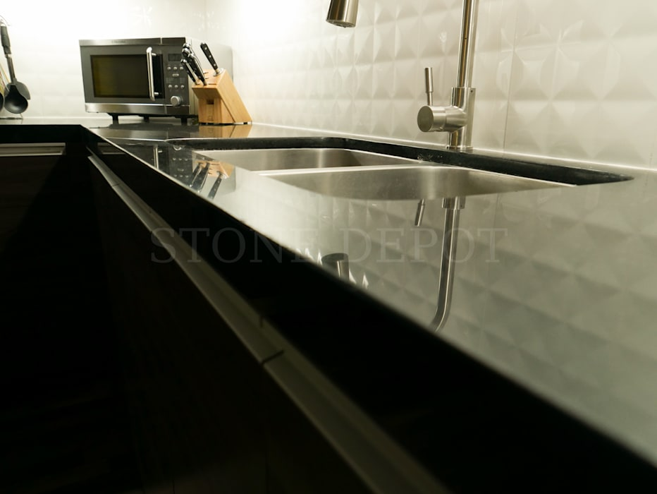 Absolute Black Granite Kitchen Countertop in Mandaue City:  Kitchen by Stone Depot