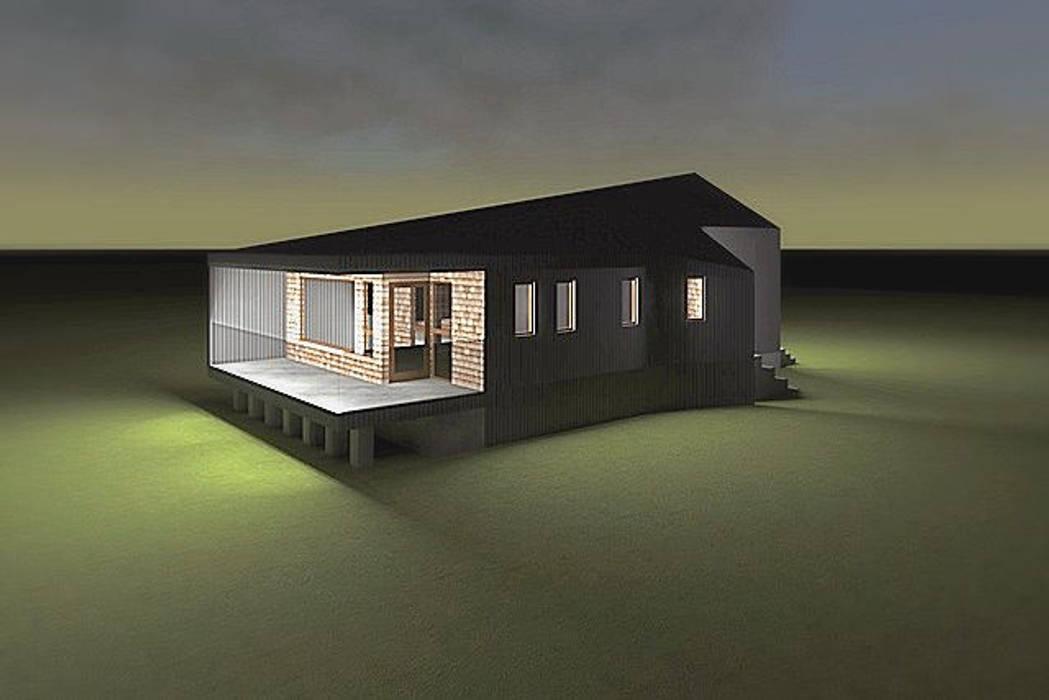 Fachada con vista desde el dormitorio: Casas unifamiliares de estilo  por casa rural - Arquitectos en Coyhaique,