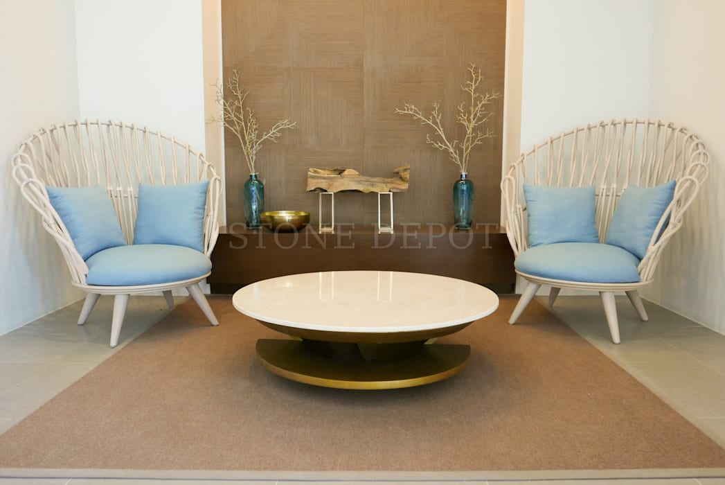 Crema Marfil Marble Table Top at Solinea Tower 1 Lobby by Stone Depot Tropical