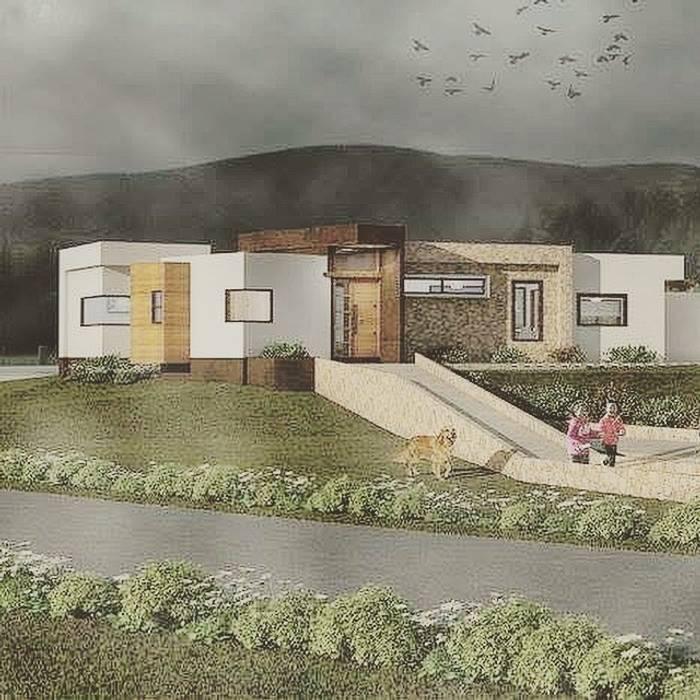 Render Vivienda Premium 115m2 Fundo Loreto. de Territorio Arquitectura y Construccion - La Serena Moderno