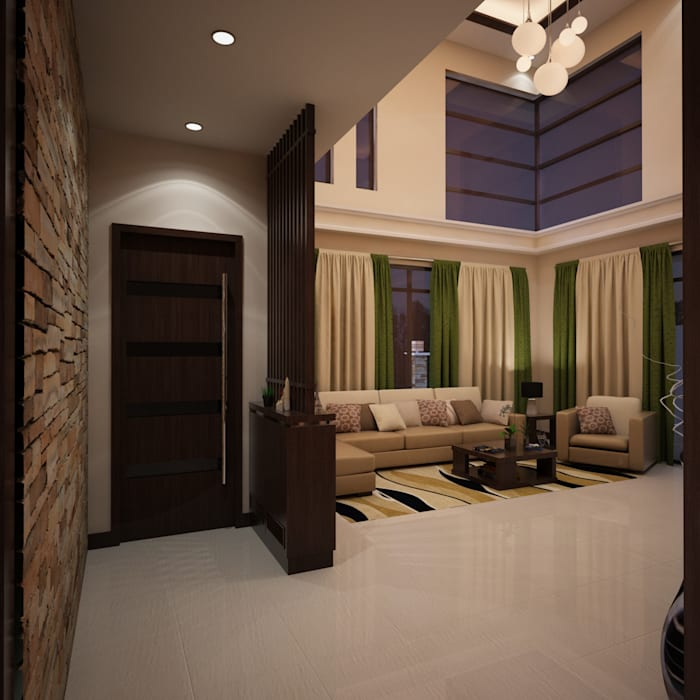 Mr. & Mrs. P Residence:  Living room by TWINE Interior Design Studio
