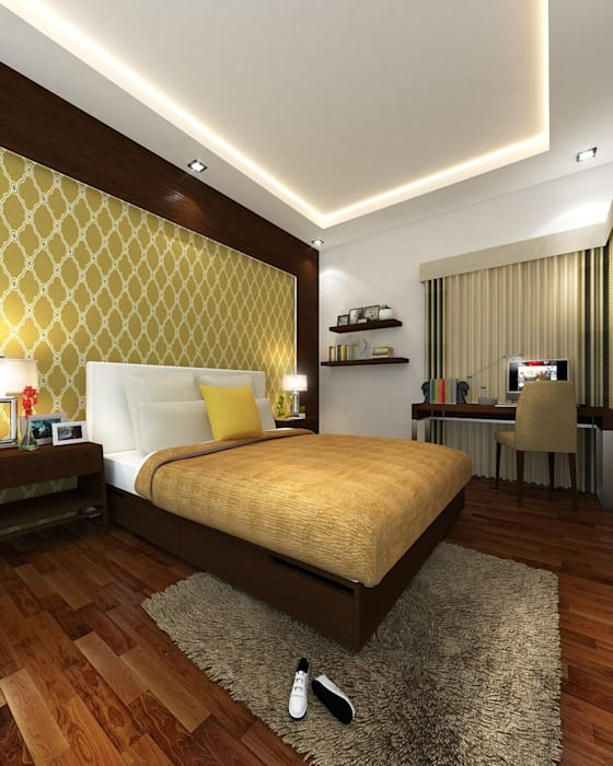 Mr. & Mrs. P Residence Modern style bedroom by TWINE Interior Design Studio Modern