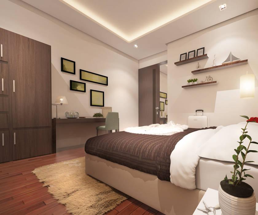 Mr. & Mrs. P Residence Modern style bedroom by TWINE Interior Design Studio Modern