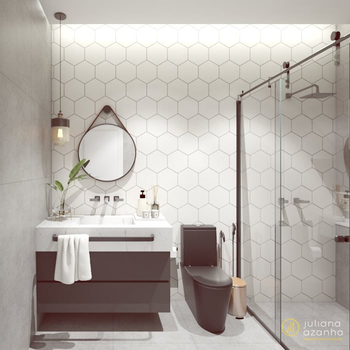 Banheiro Social: Banheiros  por Juliana Azanha | Arquitetura e Interiores
