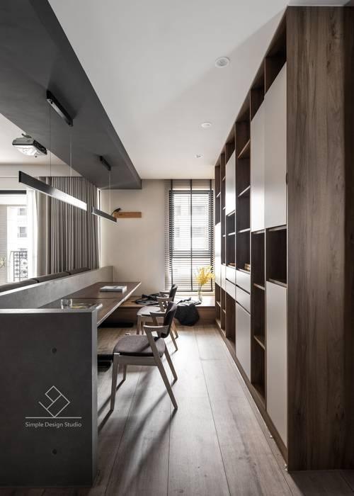 開放書房:  書房/辦公室 by 極簡室內設計 Simple Design Studio