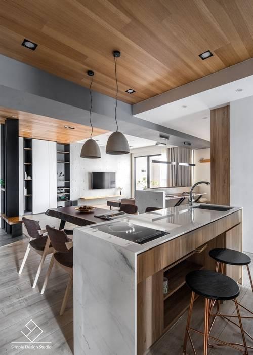 中島設計:  餐廳 by 極簡室內設計 Simple Design Studio