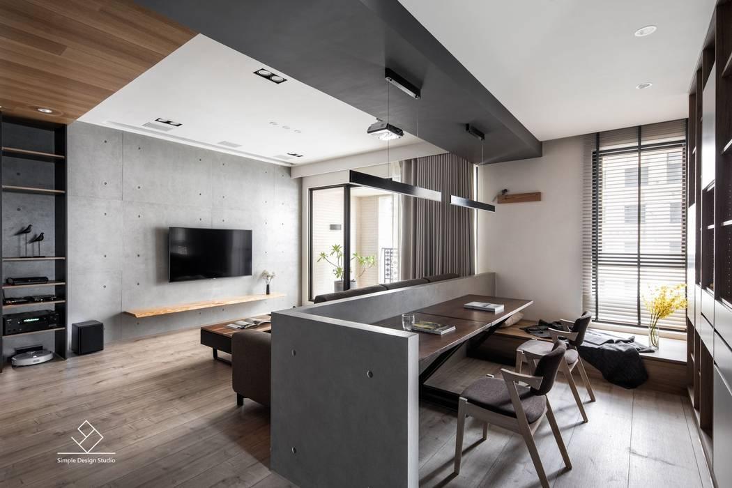 客廳與書房:  書房/辦公室 by 極簡室內設計 Simple Design Studio