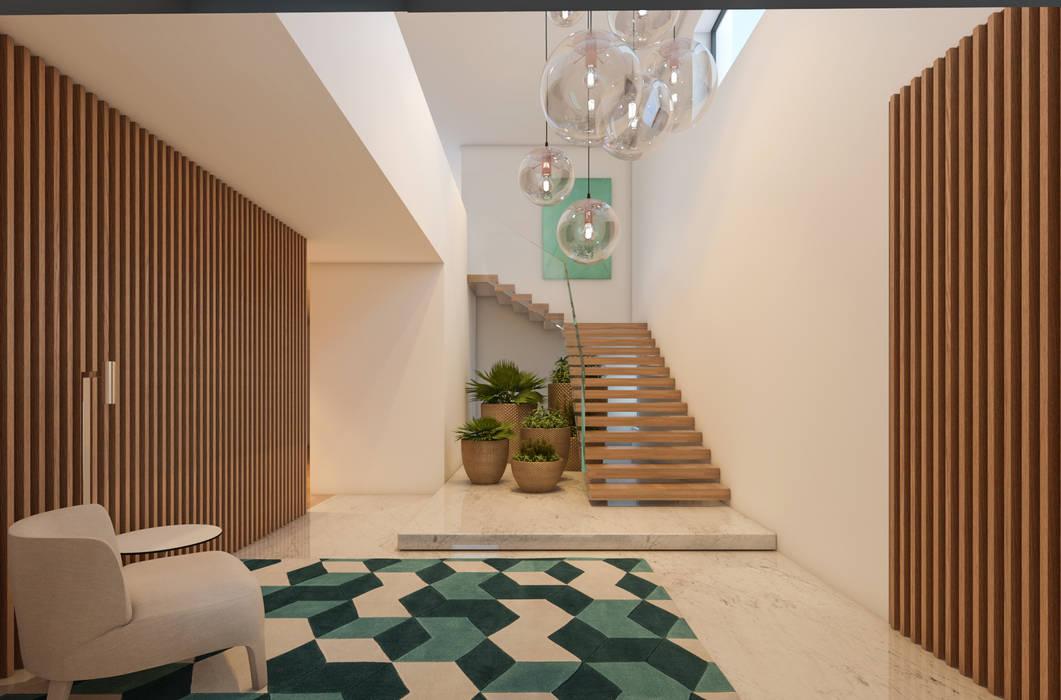 Decoraç u00e3o interiores corredor, hall e escadas por casa marques interiores homify -> Decoração De Hall Com Escada