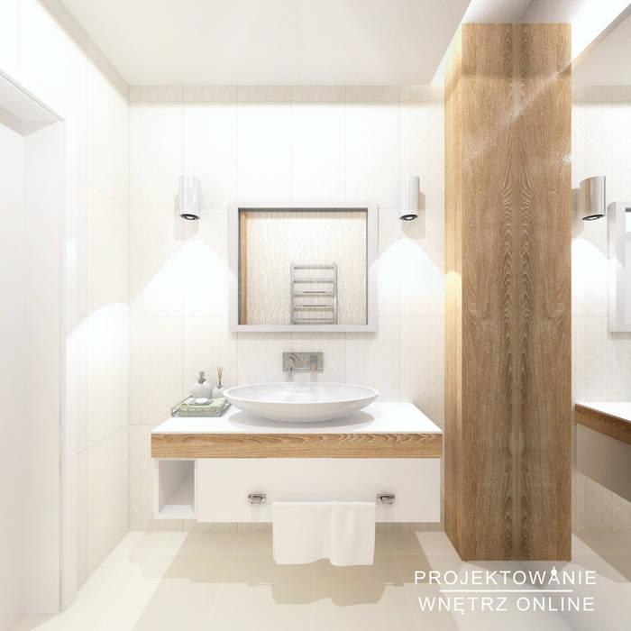 Projekt łazienki Drewno I Biel Styl W Kategorii