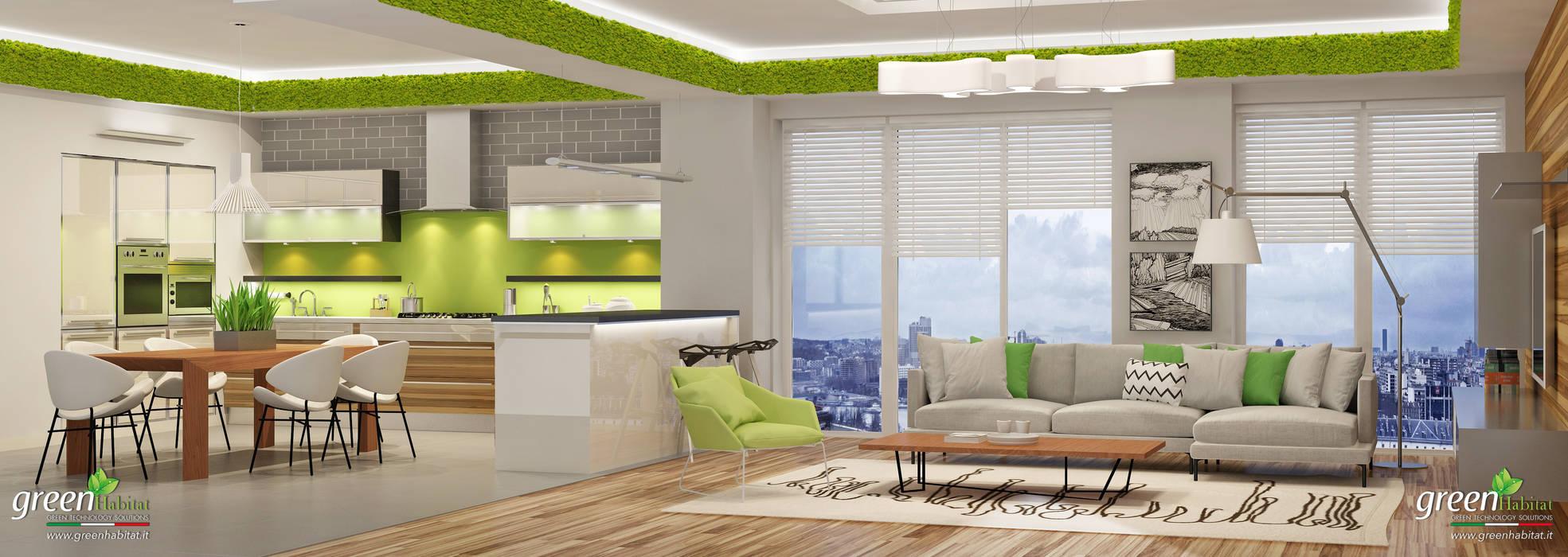 Casa moderna cucina salotto open space soggiorno in stile di green habitat s r l homify - Open space cucina salotto ...