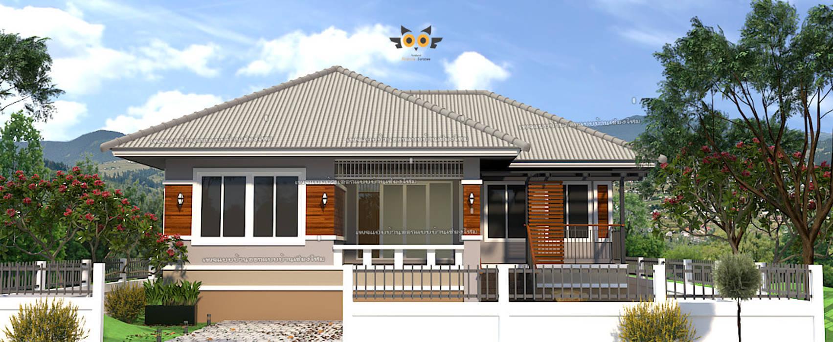 บ้านพักอาศัยชั้นเดียว โดย แบบบ้านออกแบบบ้านเชียงใหม่ ทรอปิคอล คอนกรีต