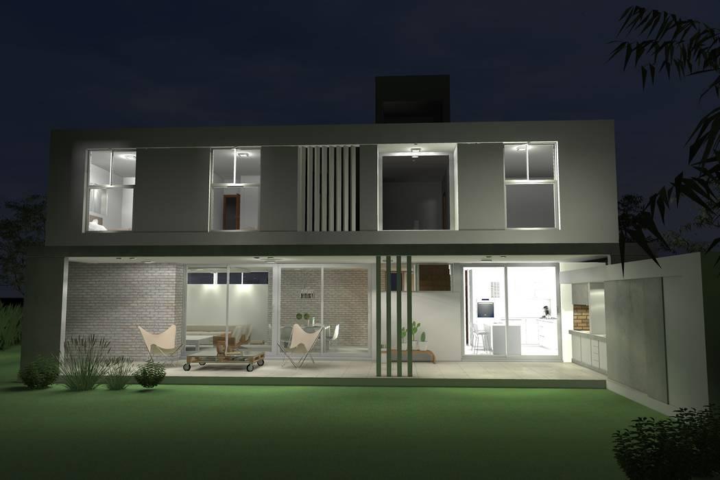 Fachada nocturna: Casas unifamiliares de estilo  por Arquitectura Bur Zurita