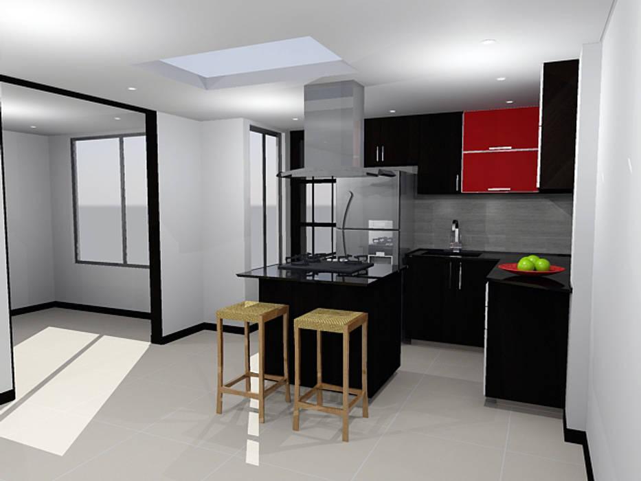 diseño de cocina integral de Omar Interior Designer Empresa de Diseño Interior, remodelacion, Cocinas integrales, Decoración Moderno Aglomerado
