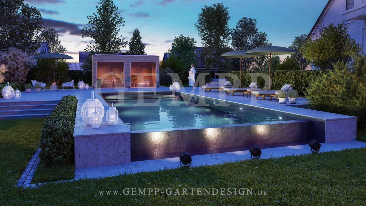 Moderne Gartengestaltung mit Pool:  Garten von GEMPP GARTENDESIGN - Gartenplanung Gartengestaltung Landschaftsbau