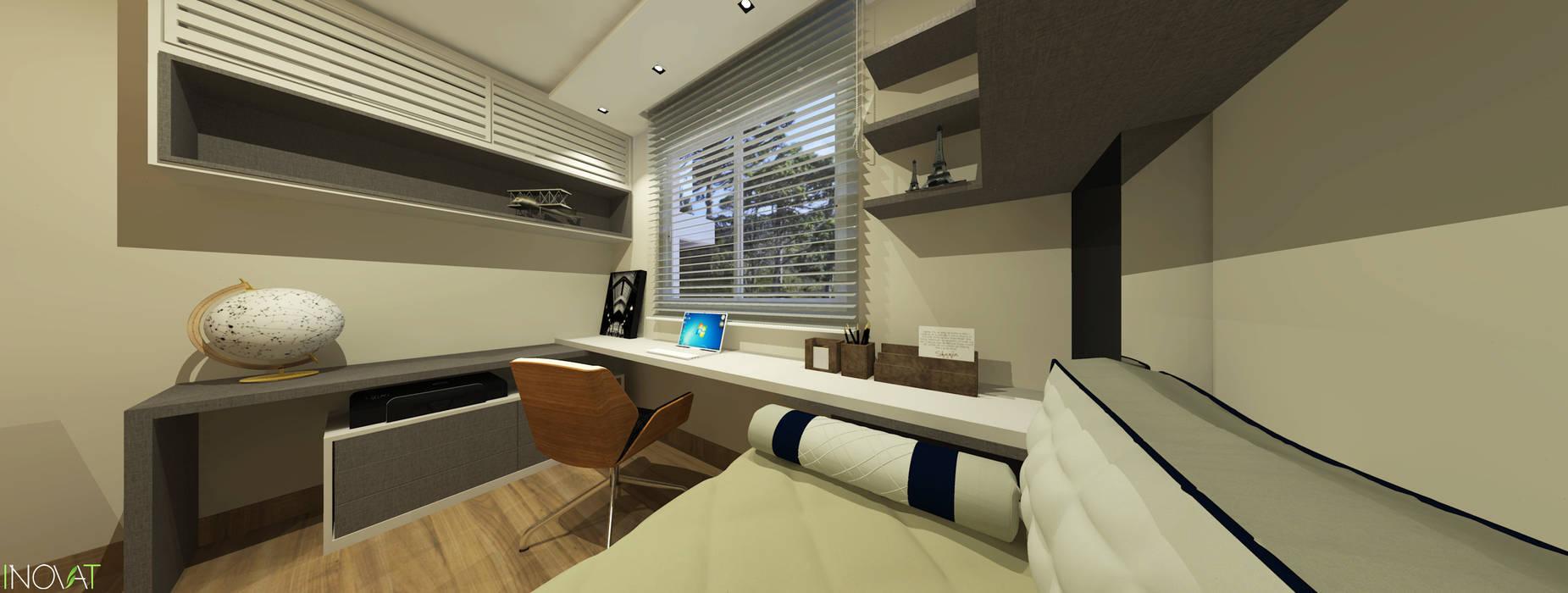 home office e quarto de hóspede Escritórios modernos por INOVAT Arquitetura e interiores Moderno Madeira Efeito de madeira