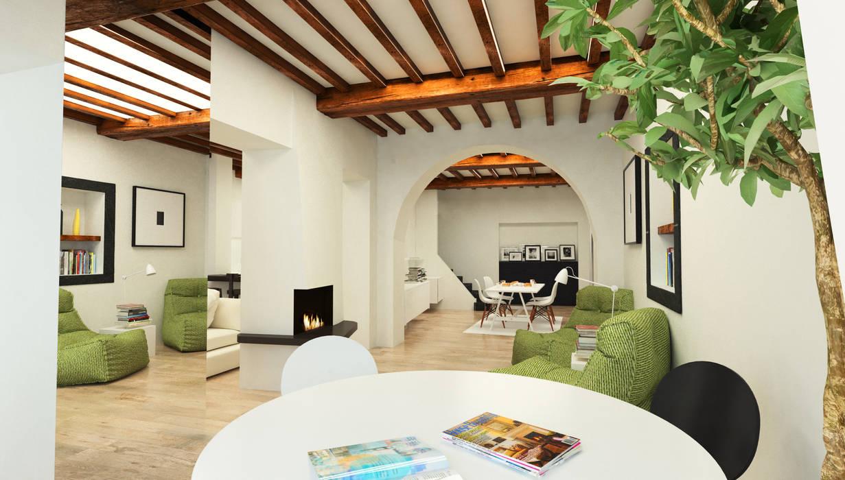 Prospettiva d'insieme dall'ingresso - Casa in Via San Martino - Pisa Studio Bennardi - Architettura & Design Ingresso, Corridoio & Scale in stile moderno