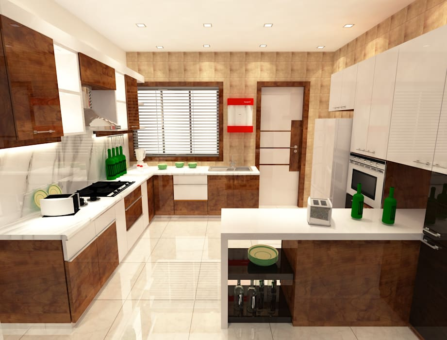 2bhk Flat Interior Merlin Residency Rajarhat Kolkata Kitchen By