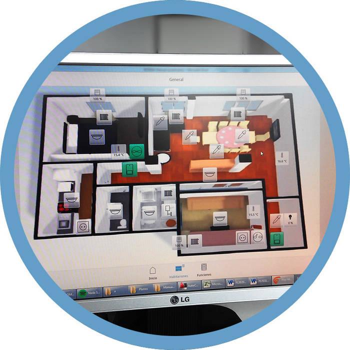 Visión general de la vivienda Indomotiq, Inmótica y Domótica (Madrid y zona centro) Estudios y despachos de estilo moderno