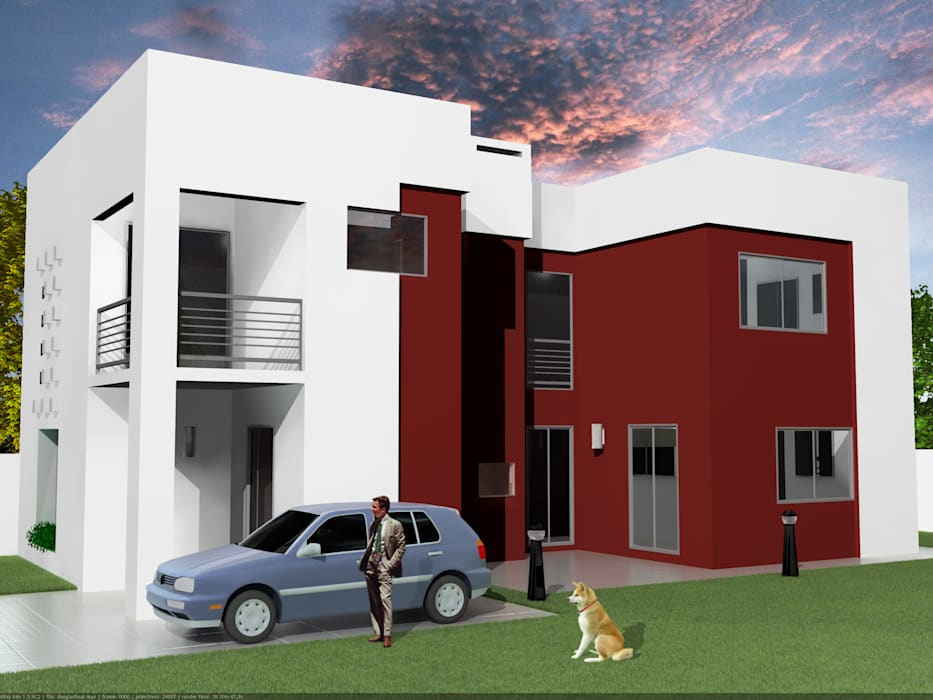 Grupo DH arquitetura Terrace house Red
