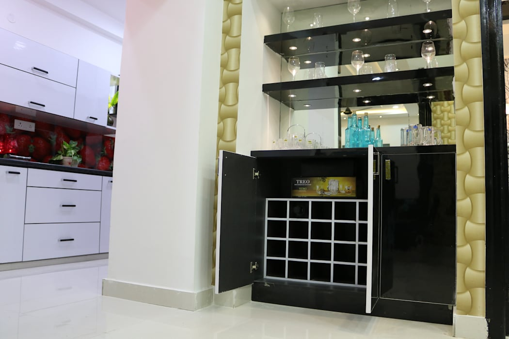 Mini Bar ZOne:  Wine cellar by Enrich Interiors & Decors,Asian Plywood