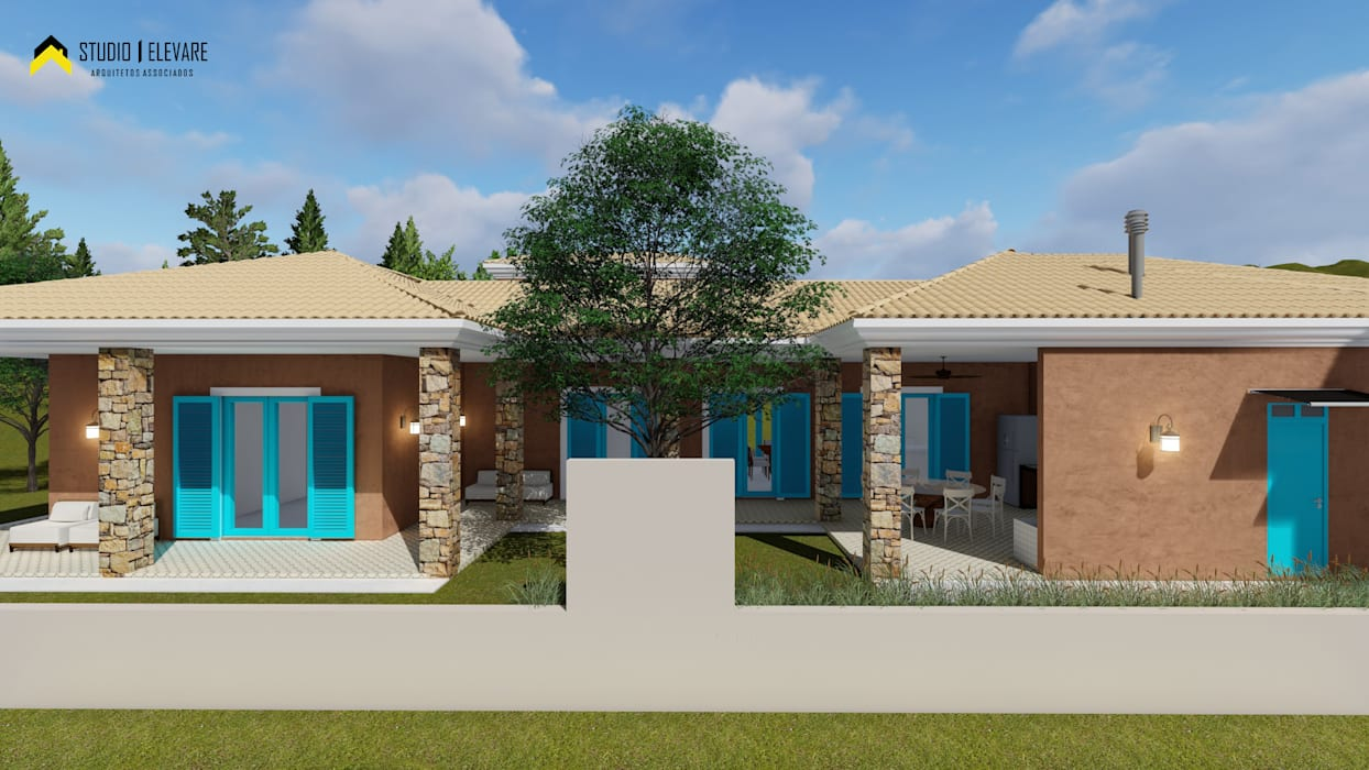 Residência LR Casas mediterrâneas por Studio Elevare Arquitetura e Interiores Mediterrâneo Pedra