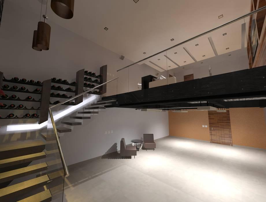 Home Theather y Cava Bodegas de vino modernas: Ideas, imágenes y decoración de CESAR MONCADA SALAZAR (L2M ARQUITECTOS S DE RL DE CV) Moderno