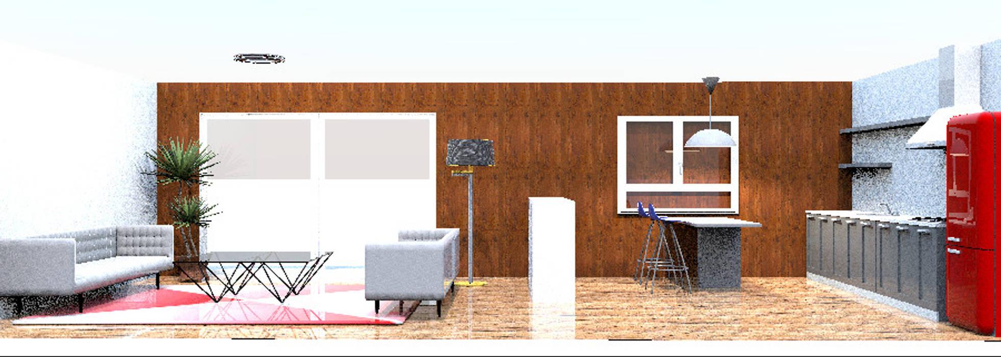 Sala Cocina open space: Muebles de cocinas de estilo  por Minimalistika.com