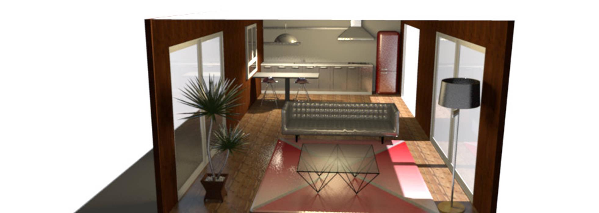 Sala Cocina open space: Salas / recibidores de estilo minimalista por Minimalistika.com