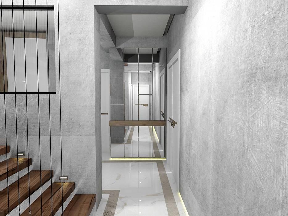 Couloir, entrée, escaliers modernes par Murat Aksel Architecture Moderne Béton