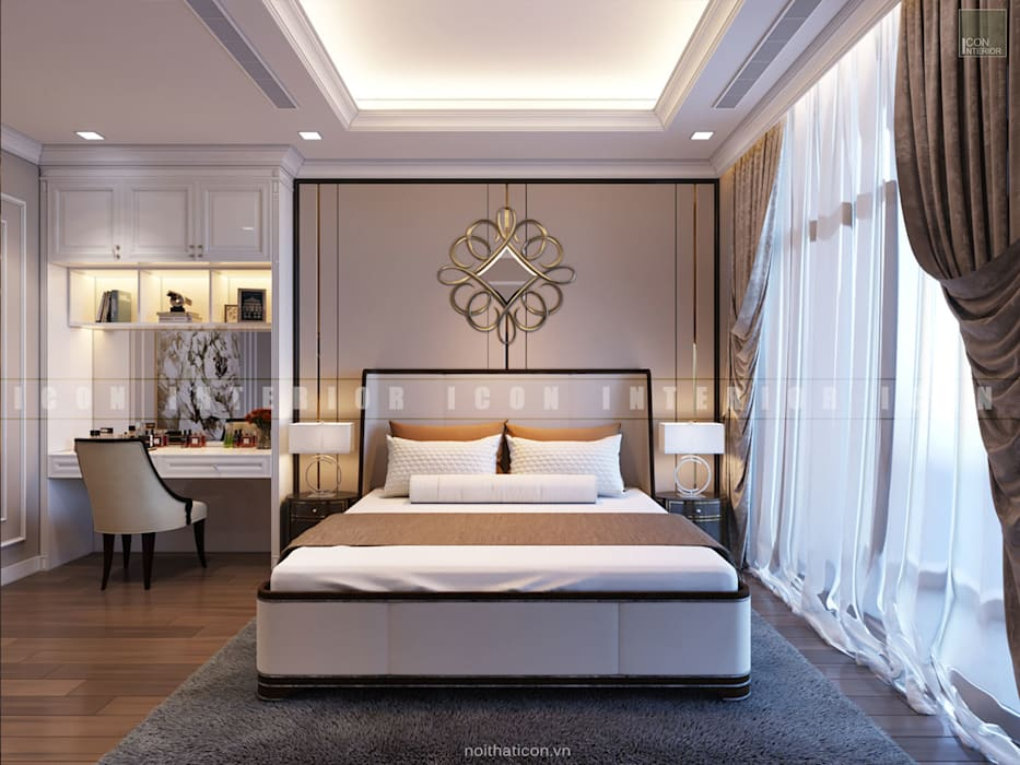 Nội thất căn hộ Vinhomes Central Park - Phong cách Tân Cổ Điển Phòng ngủ phong cách kinh điển bởi ICON INTERIOR Kinh điển