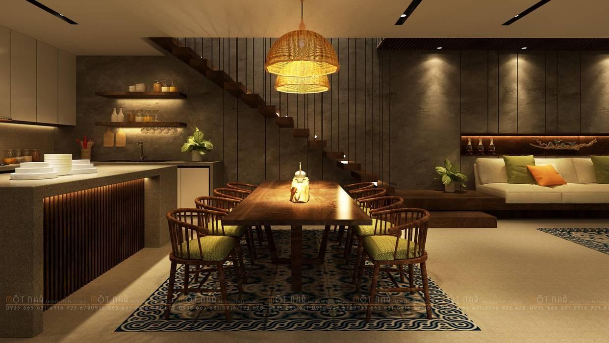 Cầu Giấy House:  Phòng ăn by Văn Phòng Kiến Trúc Một Nhà, Tối giản