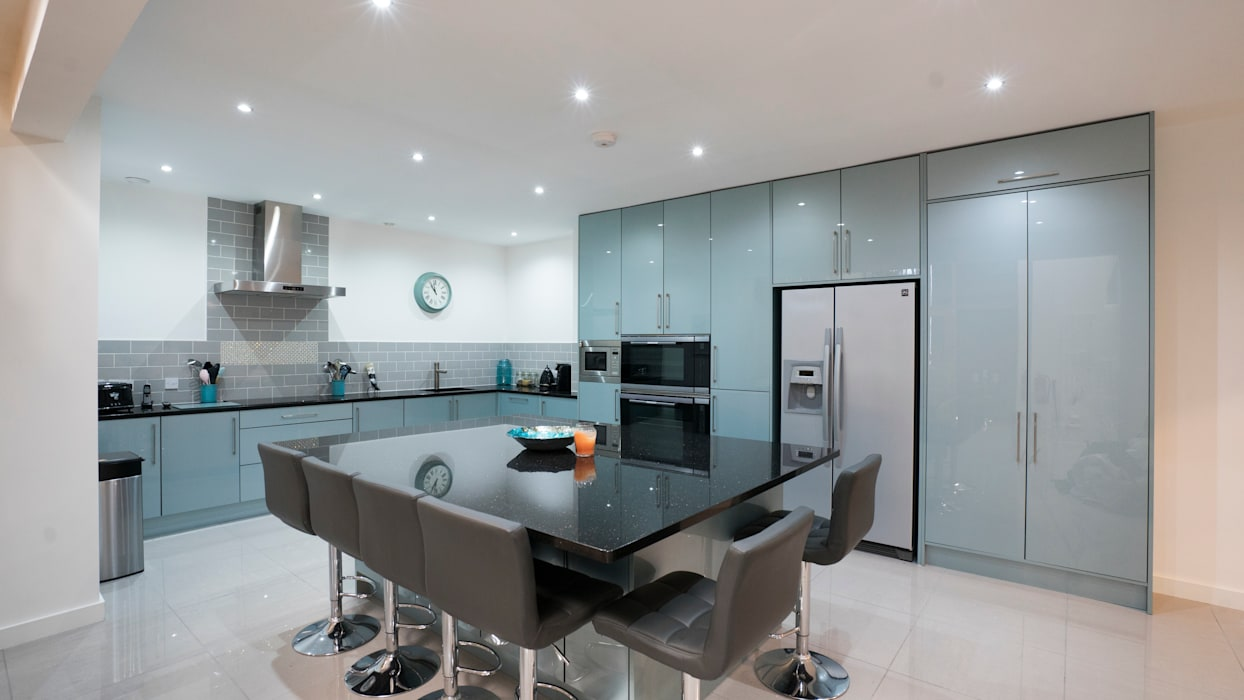 Gloss Blue Kitchen With American Fridge Freezer And Large