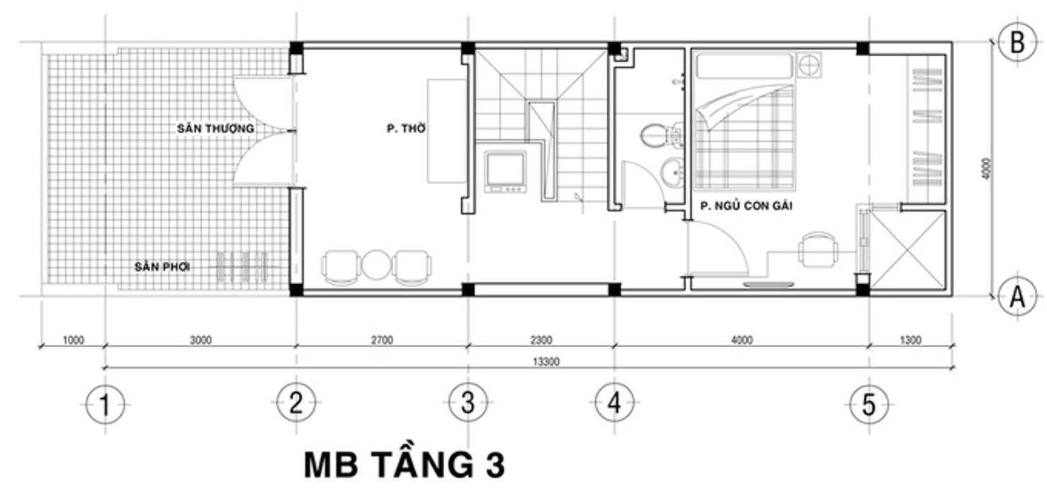 Bản vẽ thiết kế nhà phố 3 tầng bởi Công ty TNHH Xây Dựng TM – DV Song Phát Hiện đại
