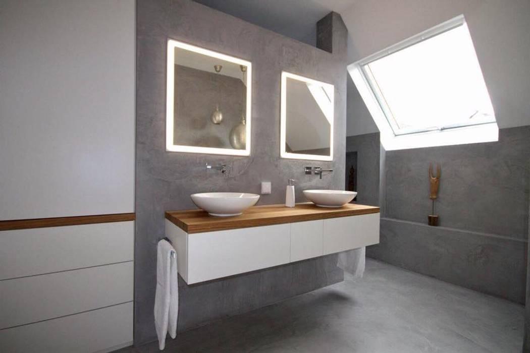 Badmöbel weiß matt mit eiche massivholz moderne badezimmer ...