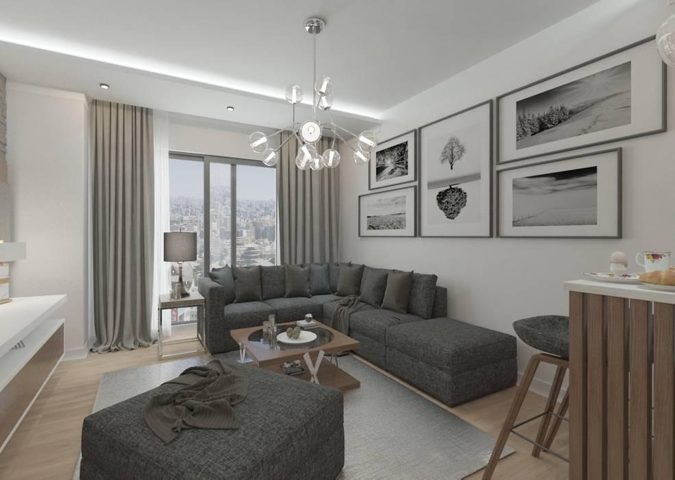 50GR Mimarlık – Cadde varlık_2+1 örnek daire :  tarz Oturma Odası