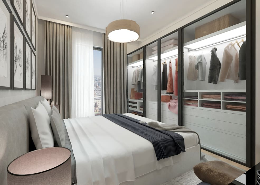50GR Mimarlık – Cadde varlık_2+1 örnek daire :  tarz Yatak Odası