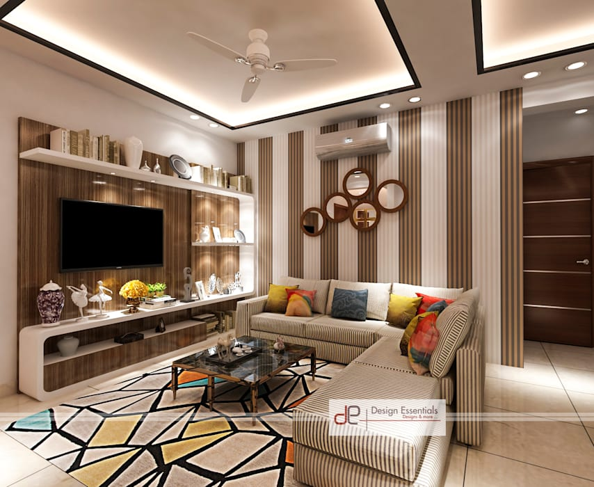DDA flat at Vasant Kunj:  Living room by Design Essentials,Minimalist