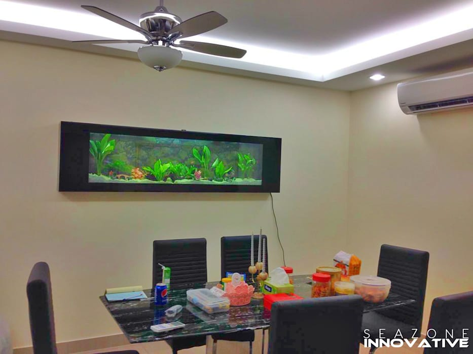 Crystal Black Wall Mounted Aquarium 7 feet Tropical style dining room by Seazone Innovative Sdn Bhd Tropical