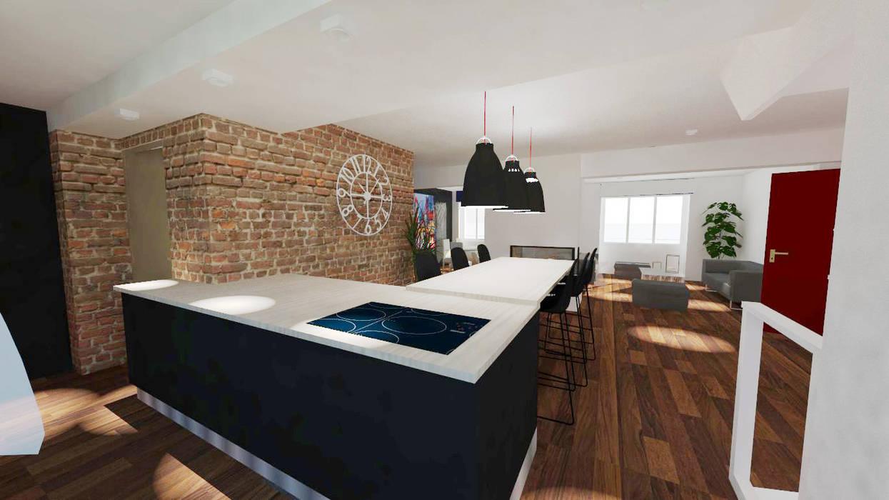 Renovation d'une maison à Brest - Architecture d'intérieur Salon moderne par Ad Hoc Concept architecture Moderne