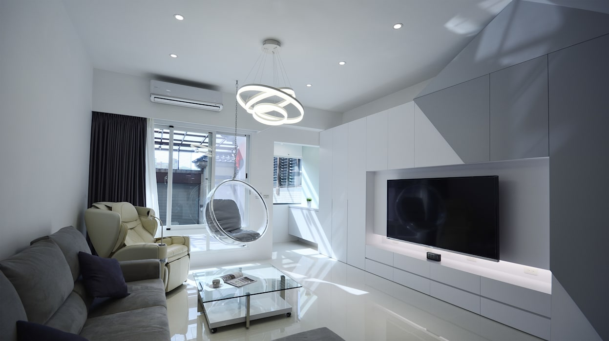 現代意象活力風:  客廳 by 瓦悅設計有限公司