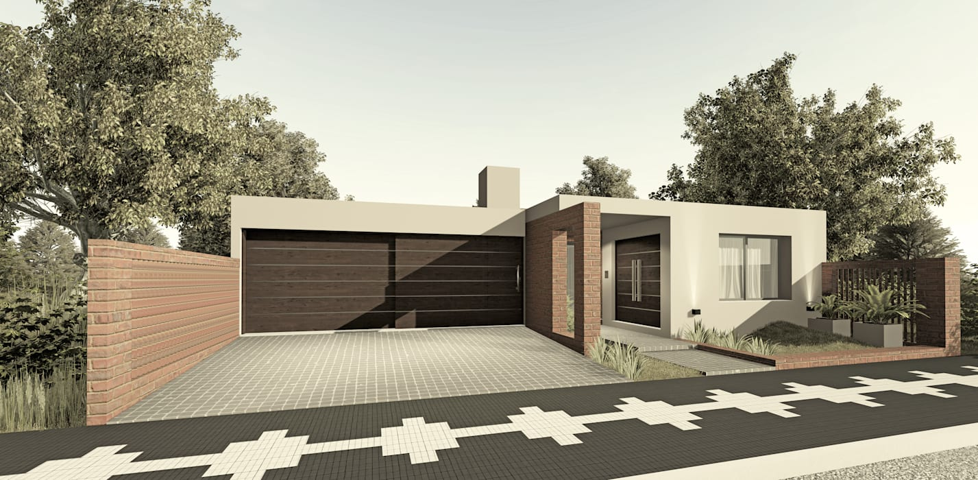 โดย PRIGIONI Arquitectura y Diseño โมเดิร์น อิฐหรือดินเผา
