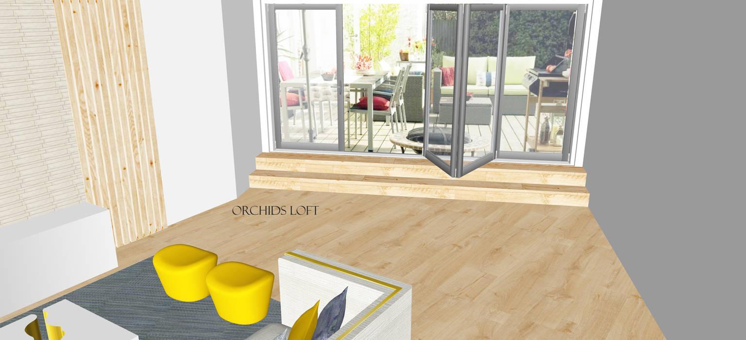 3D Loft Salas de estar modernas por ORCHIDS LOFT Moderno Madeira Acabamento em madeira