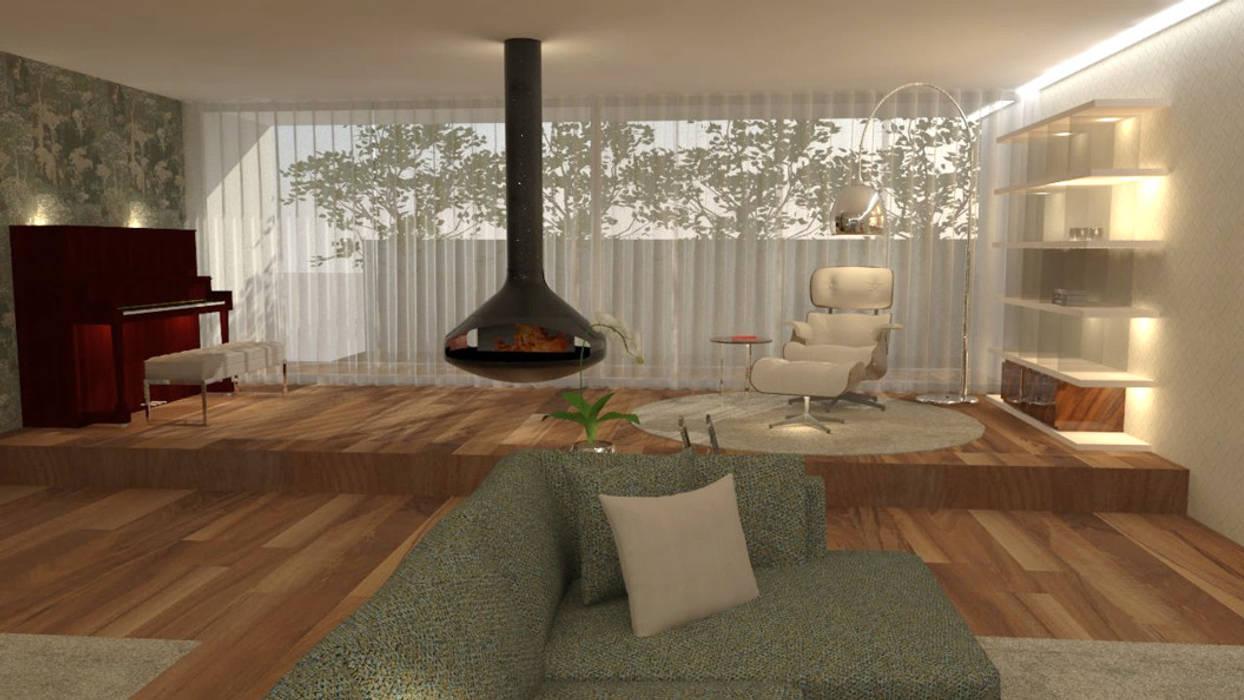 O aconchego do espaço de lazer...: Salas de estar  por Casactiva Interiores,Moderno Madeira Acabamento em madeira