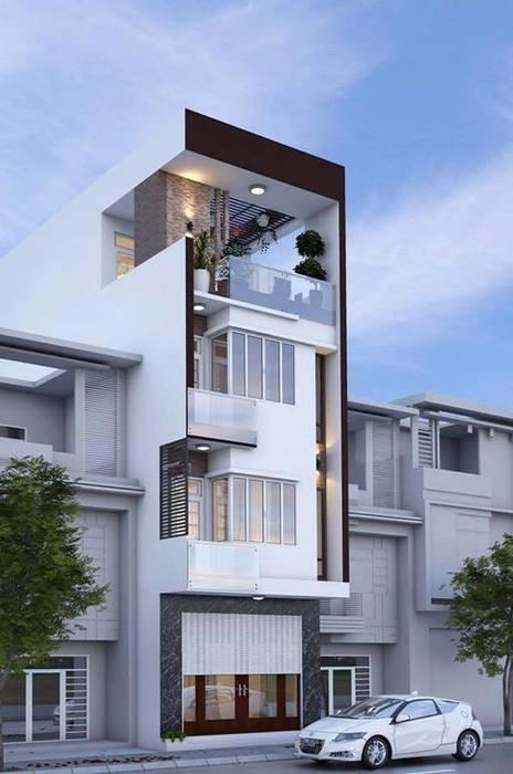 Mặt tiền ngôi nhà phố 4 tầng bởi Công ty TNHH Xây Dựng TM – DV Song Phát Hiện đại